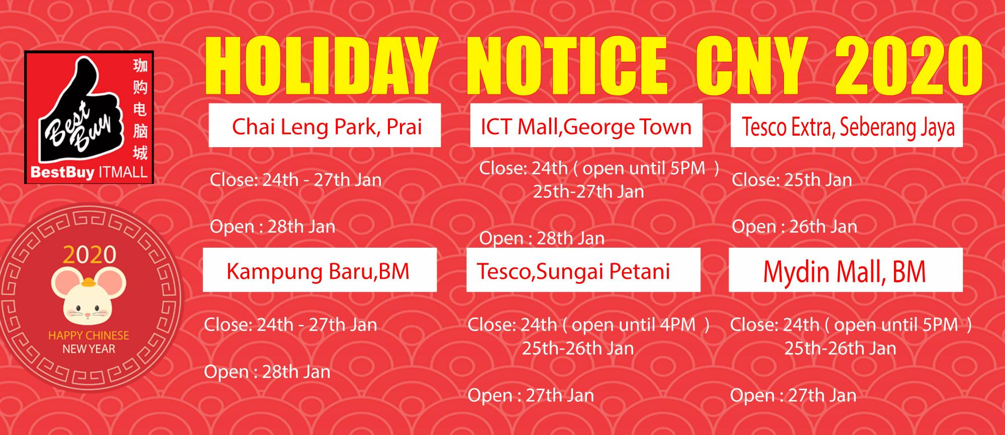 CNY 2020 holiday