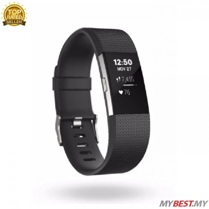 "Fitbit Charge 2 Heart Rate + Fitness Wristband Small 5.5"" - 6.7""  (Black)"