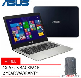 "Asus A-Series A456U-RFA132T 14"" FHD Laptop Blue (I5-7200, 4GB, 1TB, GT930MX 2GB, W10H)"