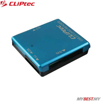 CLiPtec BASIC-4 USB 2.0 Card Reader RZR507 (Blue)