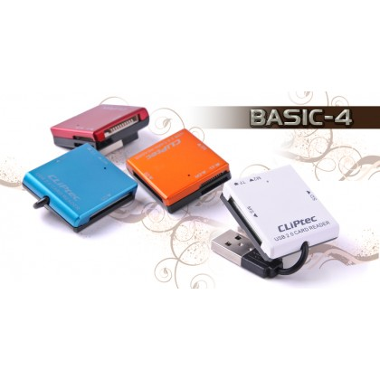 CLiPtec BASIC-4 USB 2.0 Card Reader RZR507 (Maroon)