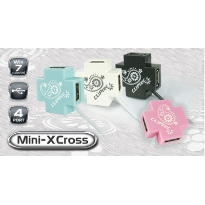 CLiPtec MINI-XCROSS USB 2.0 4 Port Hub RZH209 (Blue)