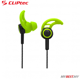 CLiPtec XTION-FIT Sports Secure Fit Earphone with Microphone BSE200 (Green)
