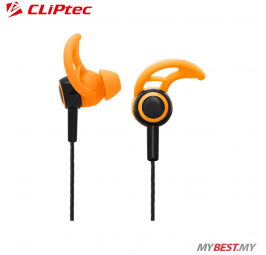 CLiPtec XTION-FIT Sports Secure Fit Earphone with Microphone BSE200 (Orange)