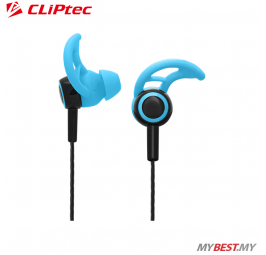 CLiPtec XTION-FIT Sports Secure Fit Earphone with Microphone BSE200 (Blue)