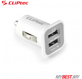 CLiPtec Dual USB Ports 3.1A Car Charger GZU365 (White)