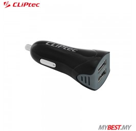 CLiPtec Dual USB Ports 2.1A Car Charger GZU367 (Black)