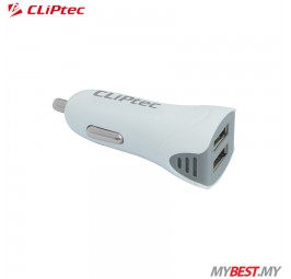 CLiPtec Dual USB Ports 2.1A Car Charger GZU367 (White)