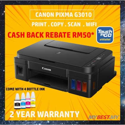 Canon PIXMA G3010 Refillable Ink Tank All-In-One Printer (*FREE Touch n Go credit RM50,)