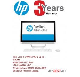HP Pavilion AIO 24-b203d PC Desktop(i5-7400T/4GB D4/1TB/NVD 930MX 2GB/23.8˝FHD Non-Touch/W10) White