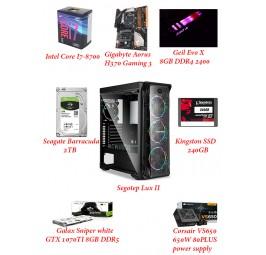~ LUX ll Gaming PC ( i7-8700 / aorus H370 / 8GB 2400MHz RAM / GTX 1070TI 8GB / 2TB HDD / 650W 80+ PSU )