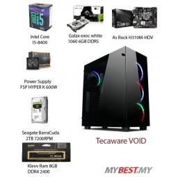 ~ LUX ll Gaming PC ( i5-8400 / H310M-HDV / 8GB 2400MHz RAM / GTX 1060 6GB / 2TB HDD / 600W 80+ PSU )