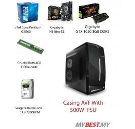Gaming Custom Pc (Intel G4560/ H110M-S2 LGA 1151 SOCKET / DDR4 4GB Ram/ 1TB HDD/1050 3GB / 500W Psu)