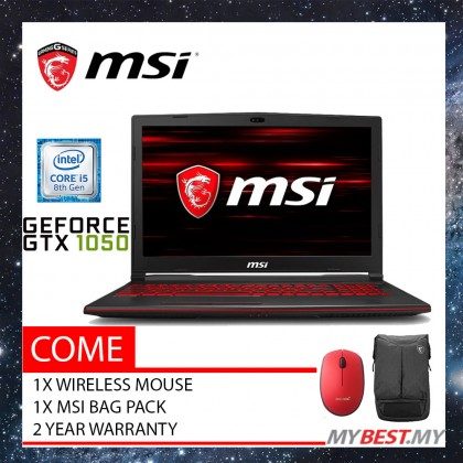 "MSI GL63 8RCS-058 15.6"" FHD IPS Gaming Laptop (I5-8300H, 8GB, 256GB, GTX1050 4GB, W10)"