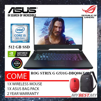 "Asus ROG Strix G G531G-DBQ086T 15.6"" FHD IPS Gaming Laptop ( I5-9300H, 4GB, 512GB, GTX1050 4GB, W10 )"