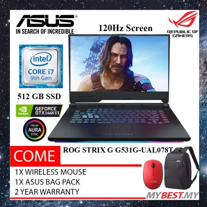 "Asus ROG Strix G G531G-UAL078T 15.6"" FHD 120Hz IPS Gaming Laptop ( I7-9750H, 8GB, 512GB, GTX 1660 Ti 6GB, W10 )"