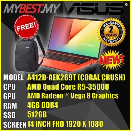ASUS A412D-AEK269T ( R5-3500U , 4GB RAM , 512GB SSD , 14 INCH FHD ) (CORAL BRUSH)