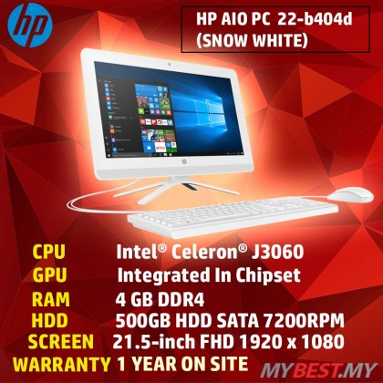 HP NON-TOUCH 22-B404D FHD IPS ALL-IN-ONE DESTOP PC (CELERON J3060,4GB,500GB ,GRAPHIC 405,21.5'',WIN10,WHITE)