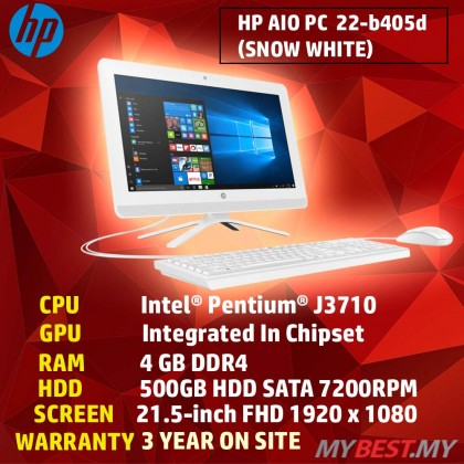HP NON-Touch 22-B405D FHD IPS ALL-IN-ONE PC (PENTIUM J3710,4GB,500GB,GRAPHIC 405,DVDRW,WIN10)