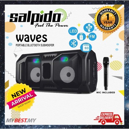 Salpido Waves Portable Bluetooth Subwoofer TWS( BT,FM,AUX,MIC,TF Card,USB,LIGHT,TWS )