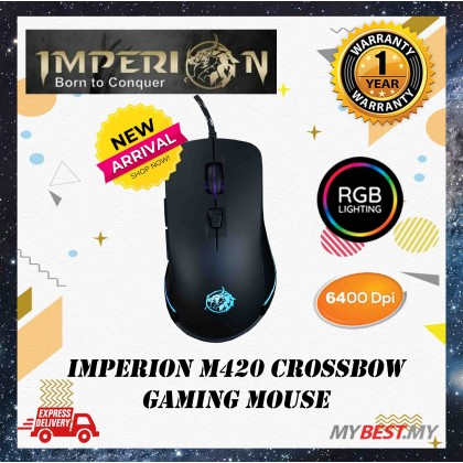 Imperion CrossBow M420 6400DPI 6 Button RGB USB Wired Gaming Mouse
