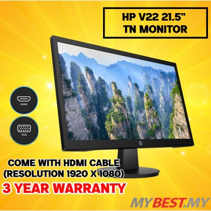 "HP V22 21.5"" FHD TN 60Hz 5ms Low Blue Light VGA HDMI Monitor (9SV79AA)"