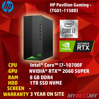 HP PAVILION GAMING TG01-1158D PC (I7-10700F,8GB,1TB SSD,GEFORCE RTX2060 SUPER 8GB,WIN10,3 YEAR ONSITE) (KEYBOARD AND MOUSE NOT INCLUDE)