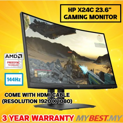 "HP X24c Gaming Curved Monitor - 23.6""-Inch / 4ms / 144Hz / FHD / VA Panel / HDMI / DP / 1500R / Free-Sync"