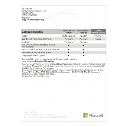 MICROSOFT OFFICE HOME & STUDENT 2019 (ESD - LICENSE KEY ONLY)