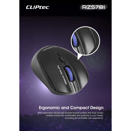 CLiPtec RZS781 DUAL-MOX 2400dpi Dual Mode Bluetooth Wireless Optical Mouse