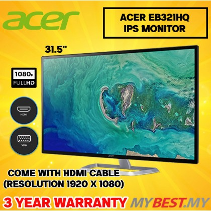 """ACER EB321HQ 31.5"""" IPS 4MS 60HZ FHD MONITOR"""