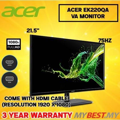 """Acer 21.5"""" EK220Q A FHD VA 75Hz HDMI VGA"""