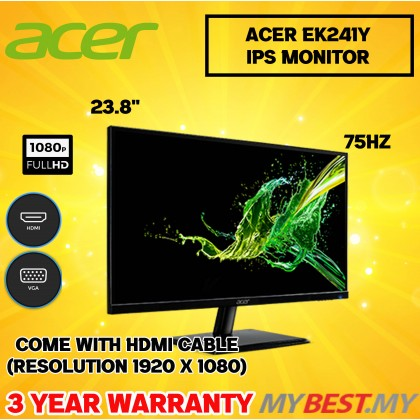 """Acer EK241Y 23.8"""" Slim FHD 75Hz IPS Monitor (HDMI AND VGA)"""