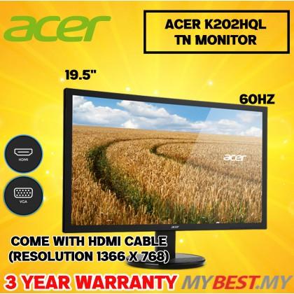 ACER K202HQL Abix MONITOR 20 INCH , 60HZ , HD , VGA , HDMI