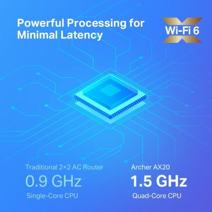 TP-Link Archer AX20 - AX1800 Dual-Band Gigabit Wi-Fi 6 Router, suitable for UniFi / Maxis / Time Fiber