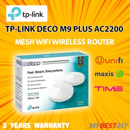 TP-LINK Deco M9 Plus AC2200 Mesh WiFi Wireless Tri Band Router For Unifi Turbo / Maxis Fibre / Time Fiber (2 PACK)