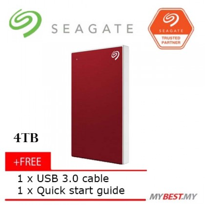 SEAGATE 4TB BACKUP PLUS SLIM EXTERNAL HARD DRIVE (RED)