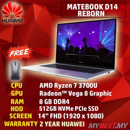 Huawei MateBook D14 (AMD Ryzen 7 /8GB RAM /512GB SSD /14 FHD IPS /AMD Radeon Vega Graphics /Win 10 /2 Years)