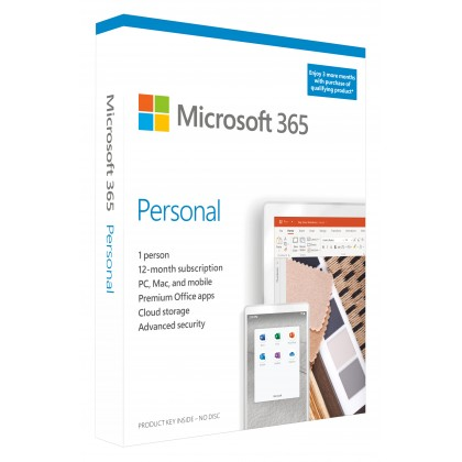 Microsoft 365 Personal | 3 Months Free, Plus 12 Month Subscription, up to 5 Devices | Premium Office Apps | 1TB OneDrive Cloud Storage | PC/Mac Download (Renews to 12 Month Subscription)