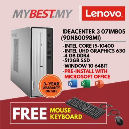 Lenovo IdeaCentre 3 07IMB05 90NB0098MI Desktop PC ( i5-10400, 4GB, 512GB SSD, Intel, W10 ) *EXTRA 4GB RAM UNTIL 31ST DECEMBER 2021