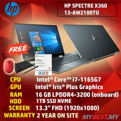 "HP SPECTRE X360 13-AW2100TU LAPTOP ( I7-1165G7,16GB,1TB SSD,13.3"" FHD,IRIS XE GRAPHICS,WIN10) FREE SLEEVE + PRE-INSTALLED OFFICE H&S 2019"
