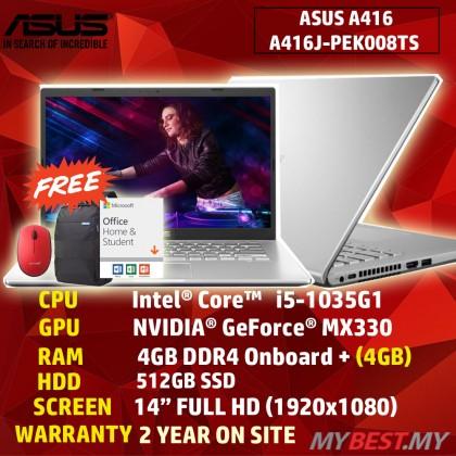Asus A416J-PEK008TS 14'' FHD Laptop Transparent Silver ( I5-1035G1, 4GB + 4GB, 512GB SSD, MX330 2GB, W10, HS )