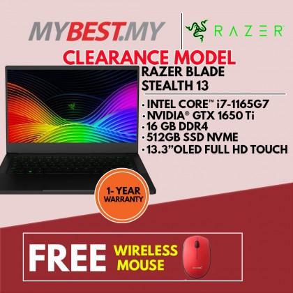 RAZER BLADE STEALTH 13 (I7-1165G7 4.70GHZ,512GB,16GB,GTX1650TI 4GB,13.3'' OLED FHD Touch,W10)