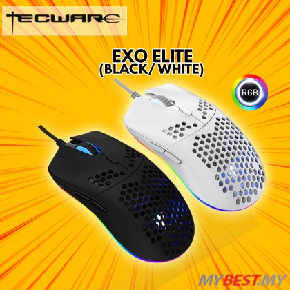 TECWARE EXO ELITE WHITE HONEYCOMB DESIGN LIGHT WEIGHT GAMING MOUSE #