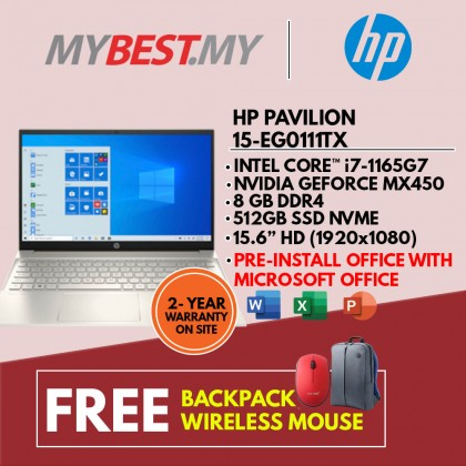 "HP PAVILION 15-EG0111TX LAPTOP (I7-1165G7,8GB,512GB SSD,15.6"" FHD,MX450 2GB,WIN10) FREE BACKPACK + PRE-INSTALLED OFFICE H&S 2019"