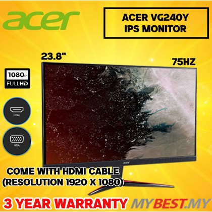 Acer Nitro VG240Y 16:9 FreeSync IPS 24 Gaming Monitor (LED VGA, HDMI)