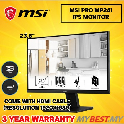 """MSI PRO MP241 23.8"""" FHD IPS PROFESSIONAL GAMING MONITOR - 7ms, 60Hz, 1920x1080"""