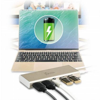 J5 CREATE USD TYPE-C MULTI ADAPTOR DUAL HDMI/ ETHERNET/ USB 3.1/ PD2.0 (JCD381)