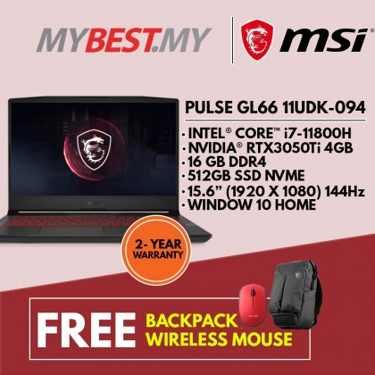 MSI Pulse GL66 11UDK-094 15.6'' FHD 144Hz Gaming Laptop ( I7-11800H, 16GB, 512GB SSD, RTX3050Ti 4GB, W10 )