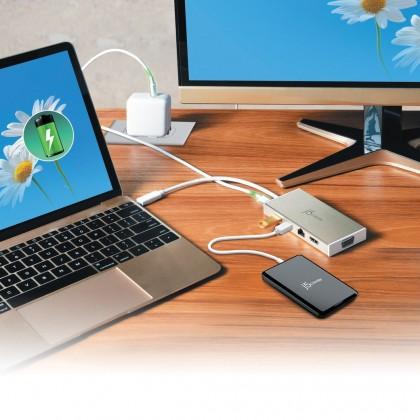 J5 CREATE USB 3.1 TYPE-C TO USB 3.1/ VGA/ HDMI/ ETHERNET PORT/ PD 2.0 DOCK (JCD376)